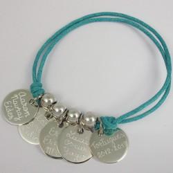 Pulsera de plata con 5 medallas grabadas
