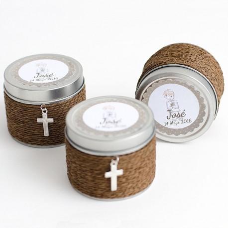 Set de 6 velas olor con rafia marron