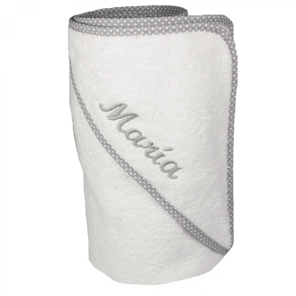 Baño Para Ninos Con Fiebre: Capas de baño bordadas > Capa de baño con ribete de topitos grises