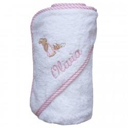 Capa de baño con ribete de rayas rosas