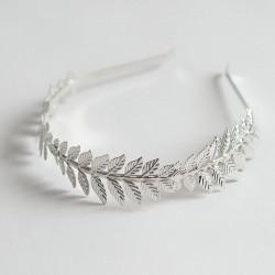 Diadema niña hojas plata