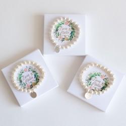 6 pulseras de perlas detalles boda personalizados