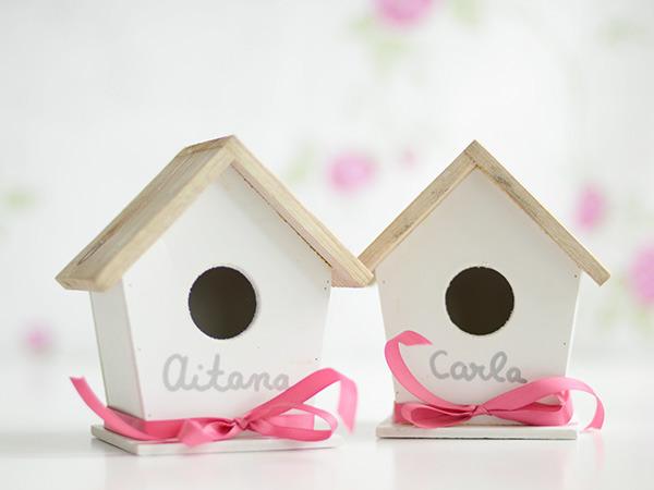 casitas de pájaros con nombre- regalos para niños
