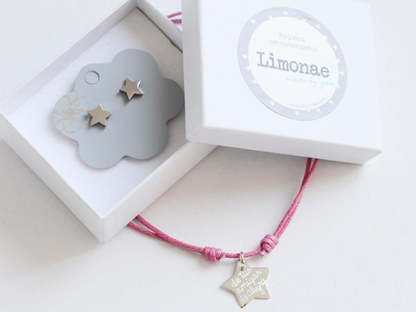 collar estrella con pendientes - personalizados