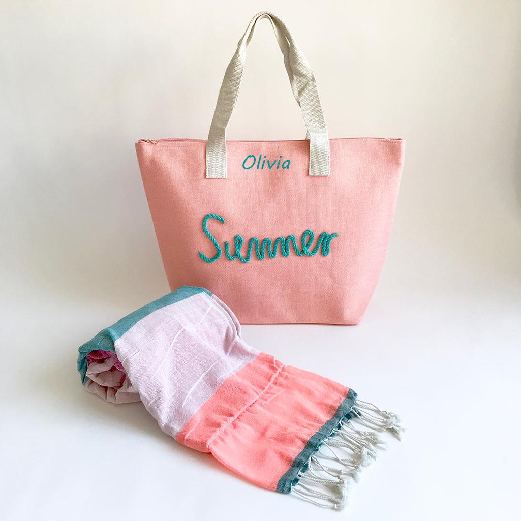 bolsa personalizada y toalla de playa