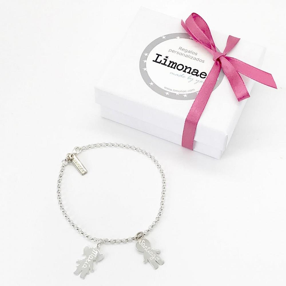 pulseras de plata grabadas para regalar a mama