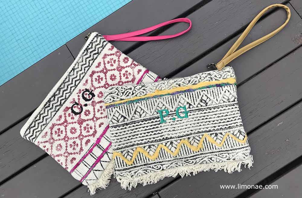bolsos personalizados con iniciales par verano piscina playa