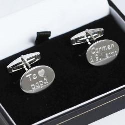 Gemelos de plata para caballero grabados a maquina