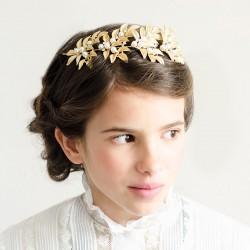 Tocado clasico hoja oro y perlas