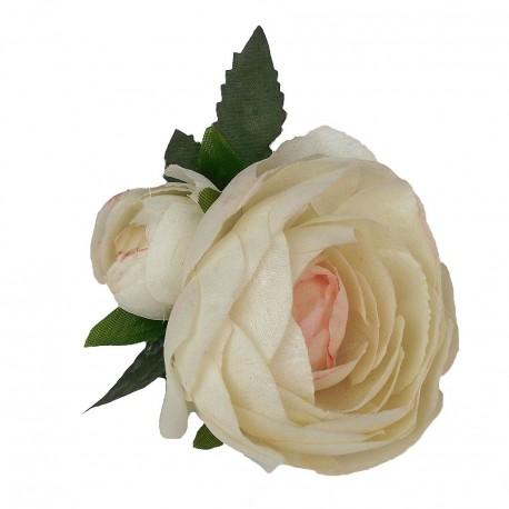 Flores de tela con pinza en 3 colores
