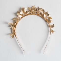 Diadema Comunión clásica hojas oro