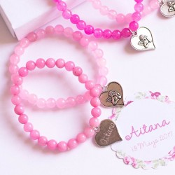 6 pulseras de gemas rosas personalizadas