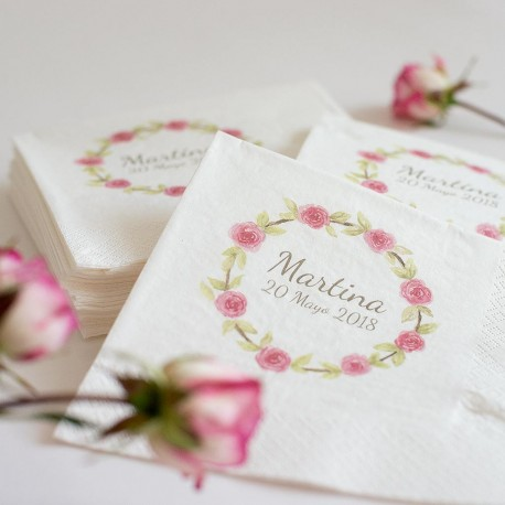 20 Servilletas personalizadas para Comunión Flores