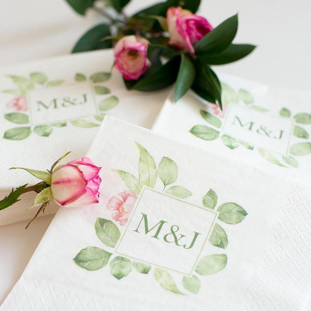 Servilletas para boda con las iniciales de los novios - Servilletas personalizadas ...