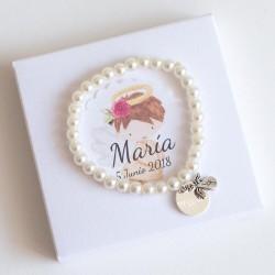 6 pulseras de perlas con angelito y medalla grabada para bautizos