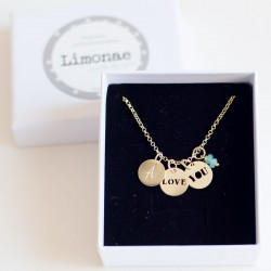 Collar de oro LOVE YOU con iniciales o fecha