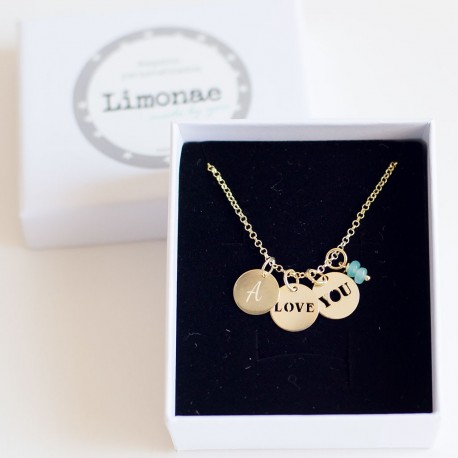 Collar de oro LOVE YOU con iniciales