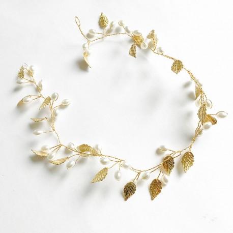 """Tocado Comunión hojas oro viejo y perlas """"Angelica"""""""