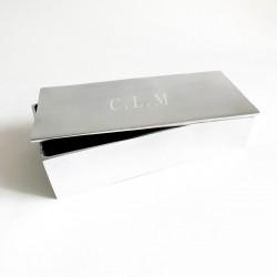 Regalo hombre caja plateada personalizada