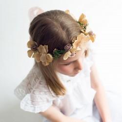 Corona Comunión flores en ocres