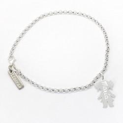 Pulsera de plata con 1 silueta de plata niño/niña