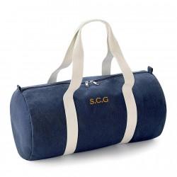 Bolsa de deporte algodón azul oscuro con iniciales