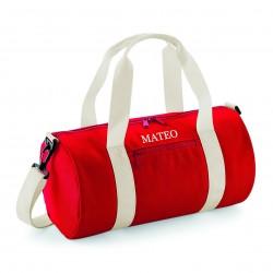 Bolsa deporte personalizada roja con iniciales o nombre bordado