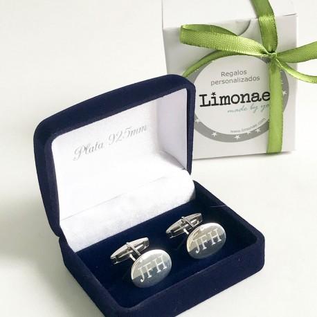 Gemelos de plata personalizados con iniciales