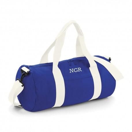 Bolsa deporte personalizada azul con iniciales o nombre bordado