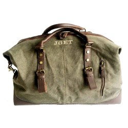Bolsa de viaje fin de semana con iniciales verde caza