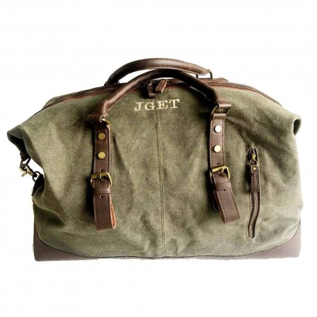 Bolsa de viaje con iniciales verde caza