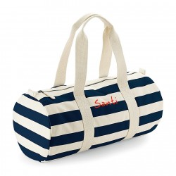 Bolsa de deporte rayas azules con iniciales bordadas