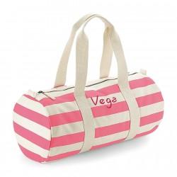 Bolsa de deporte rayas rosas con iniciales bordadas