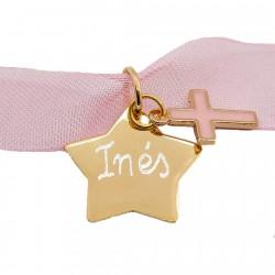 Regalo Primera Comunión gargantilla con estrella de oro y cruz