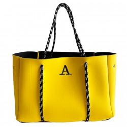 Bolso amarillo neopreno con inicial bordada