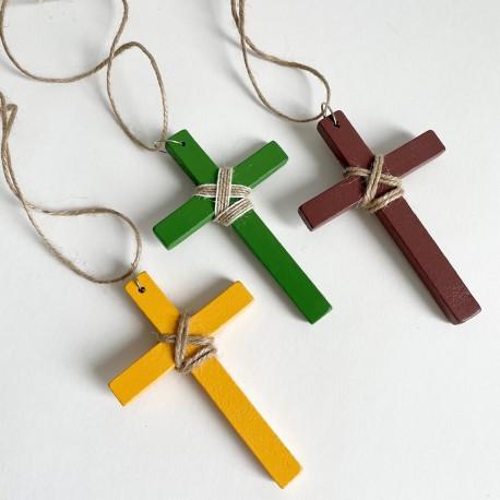 Cruz de madera Comunión blanca