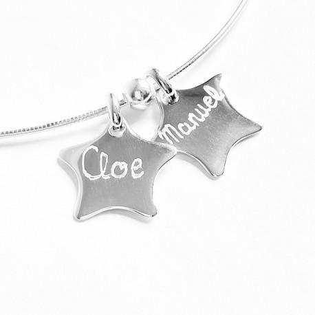 Collar de plata con 2 estrellas de plata grabadas
