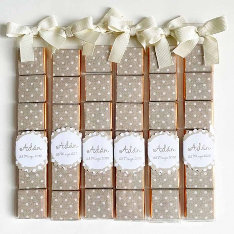 Set de 6 chocolatinas como detalle para invitados a Bautizos o Comuniones