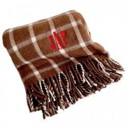 Manta personalizada de lana escocesa cuadros marrón